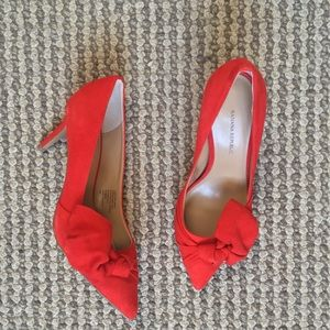 Natural suede leather red shoes brand new